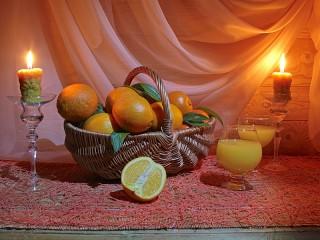 Собирать пазл Апельсины в корзине онлайн