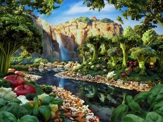 Собирать пазл Аппетитный пейзаж онлайн