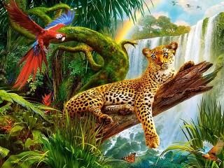 Собирать пазл Ара и леопард онлайн
