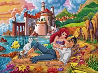 Собирать пазл Ариэль и принц онлайн