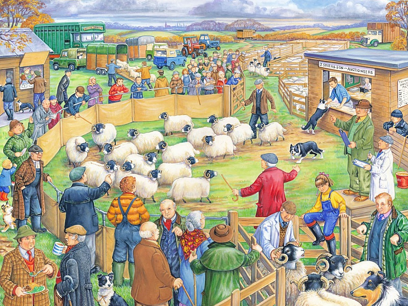Пазл Собирать пазлы онлайн - Аукцион овец