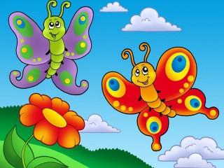 Собирать пазл Бабочки и цветок онлайн