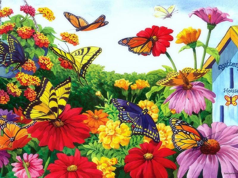 Пазл Собирать пазлы онлайн - Бабочки в саду