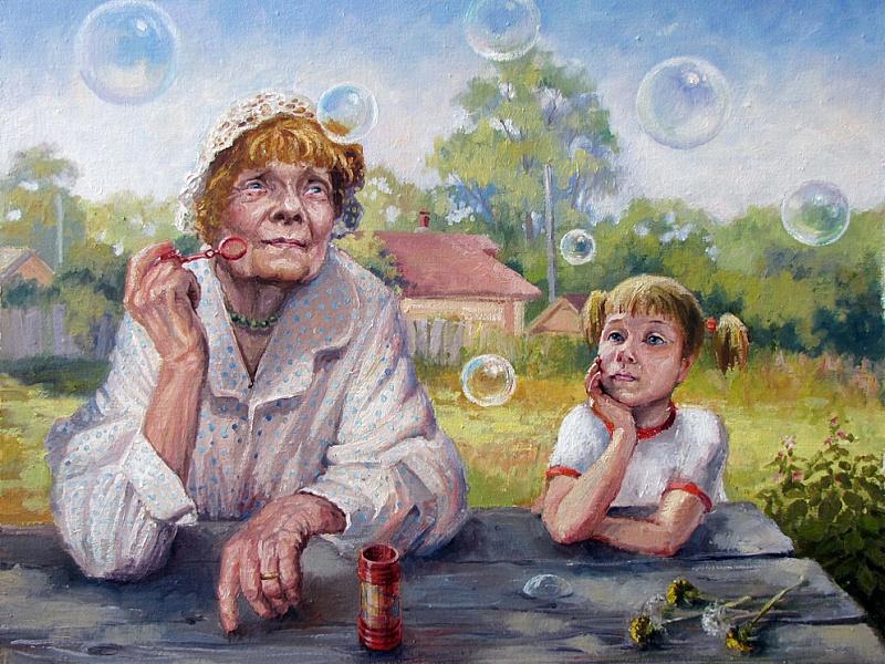 Пазл Собирать пазлы онлайн - Бабушка и внучка