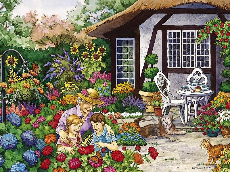 Пазл Собирать пазлы онлайн - Бабушкин сад