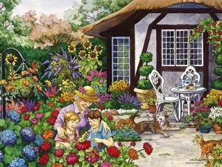 Собирать пазл Бабушкин сад онлайн