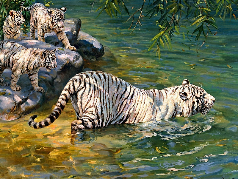 Пазл Собирать пазлы онлайн - Белая тигрица