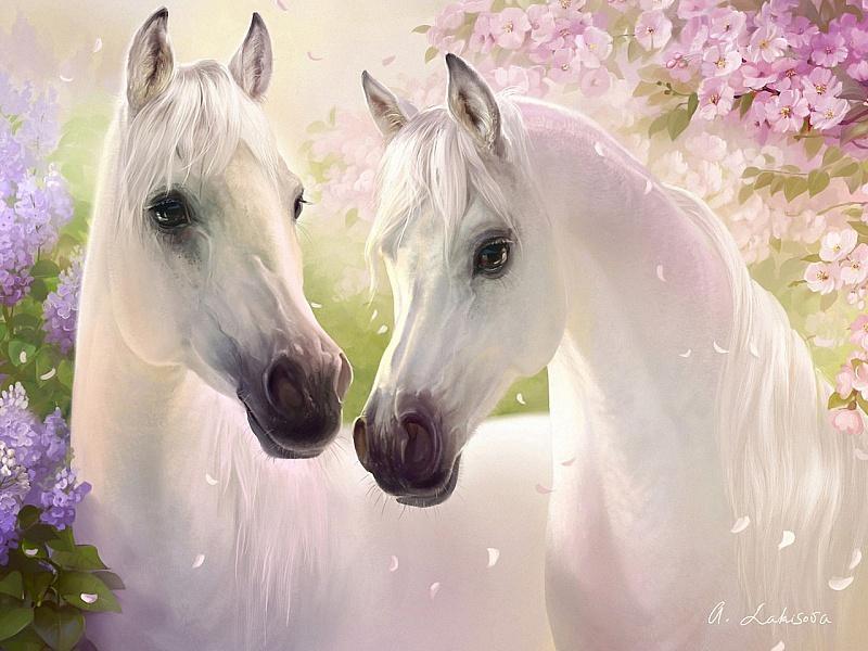 Пазл Собирать пазлы онлайн - Белые кони