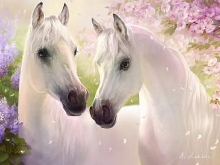 Собирать пазл Белые кони онлайн