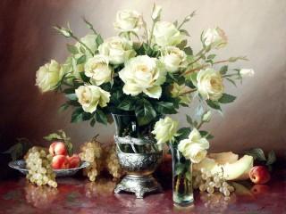 Собирать пазл Белые розы  онлайн