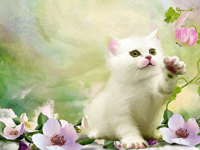 руками картинка красивой белой кошки в цветах разу пожалел, очень