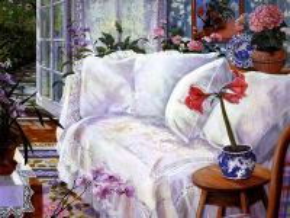 Собирать пазл Белый диван онлайн
