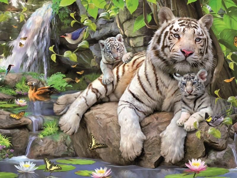 Пазл Собирать пазлы онлайн - Белый тигр