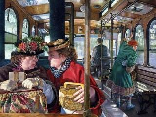 Собирать пазл Беседа в транспорте онлайн