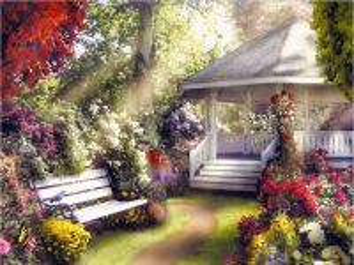 Собирать пазл Беседка в саду онлайн