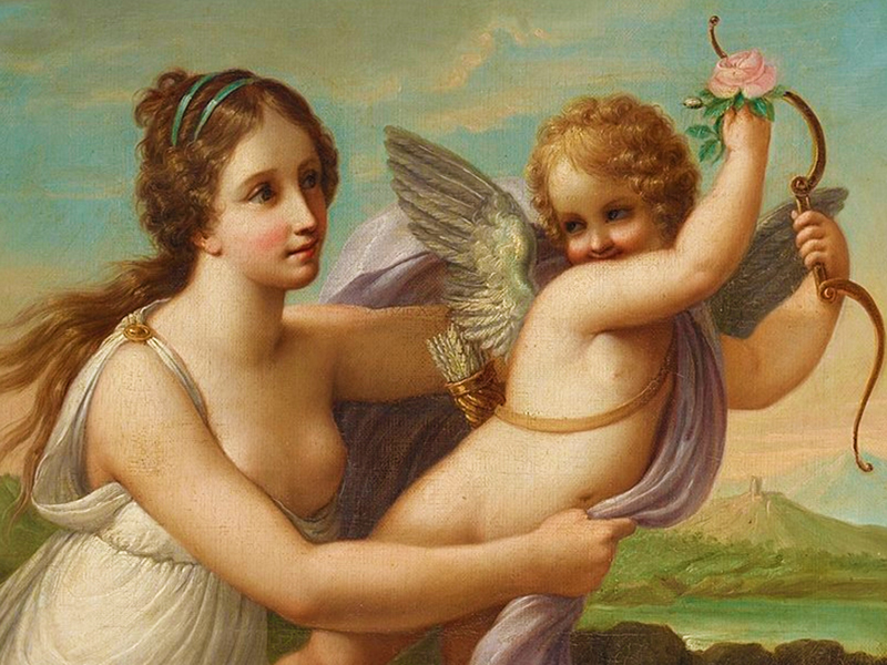 Пазл Собирать пазлы онлайн - Богиня и Амур