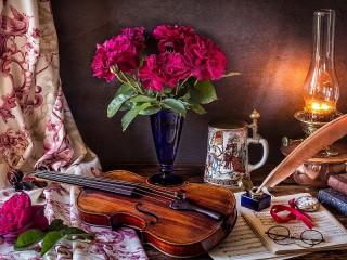 Собирать пазл Букет и скрипка онлайн