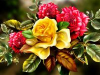 Собирать пазл Букет из роз  онлайн