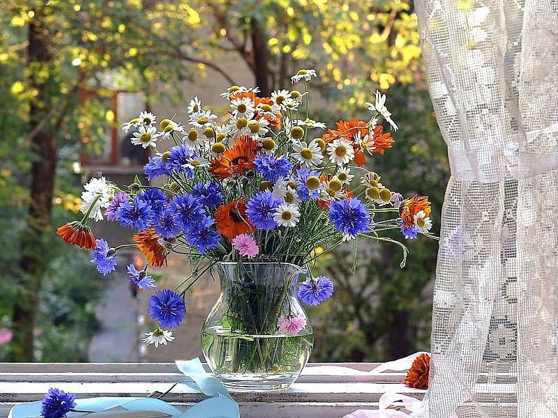 Пазл Собирать пазлы онлайн - Букет полевых цветов