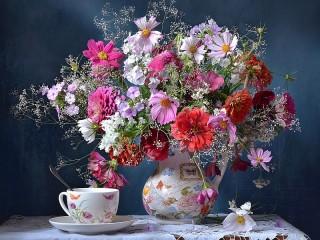 Собирать пазл Букет цветов онлайн