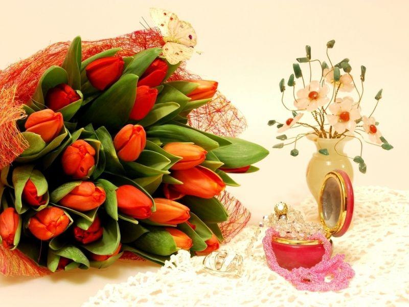Пазл Собирать пазлы онлайн - Букет тюльпанов 1