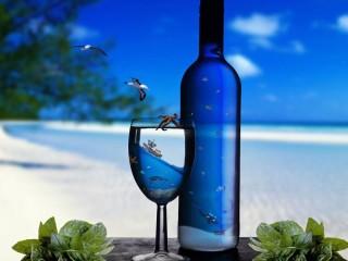 Собирать пазл Бутылка на пляже онлайн