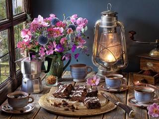 Собирать пазл Чаепитие с брауни онлайн