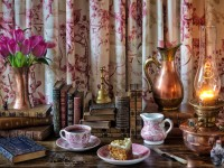 Собирать пазл Чаепитие с лампой онлайн