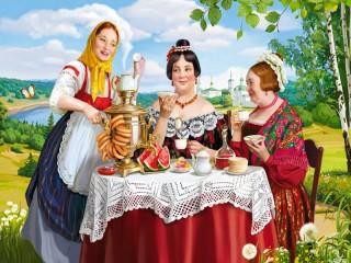 Собирать пазл Чаепитие в саду онлайн