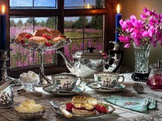 Собирать пазл Чай при свечах онлайн