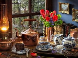 Собирать пазл Чайник и тюльпаны онлайн