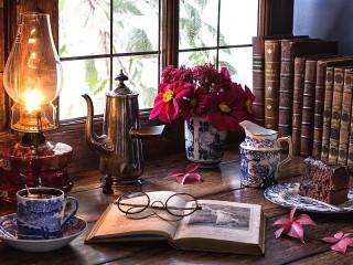 Собирать пазл Чашка кофе с книгой онлайн