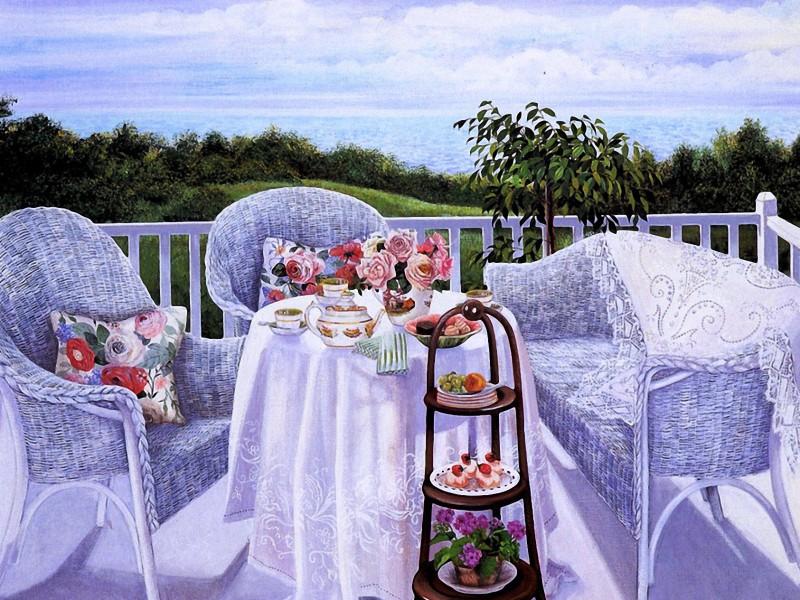 Пазл Собирать пазлы онлайн - Чай на балконе