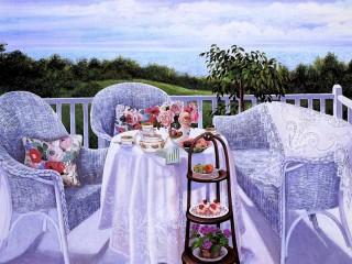 Собирать пазл Чай на балконе онлайн