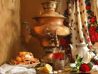 Собирать пазл Чай с блинами онлайн