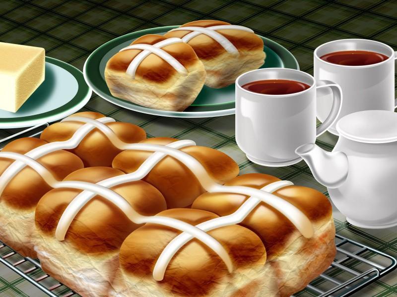 Пазл Собирать пазлы онлайн - Чай с булками