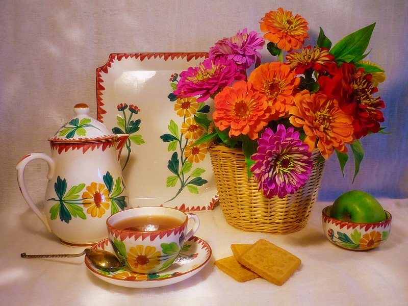 Пазл Собирать пазлы онлайн - Чайный натюрморт