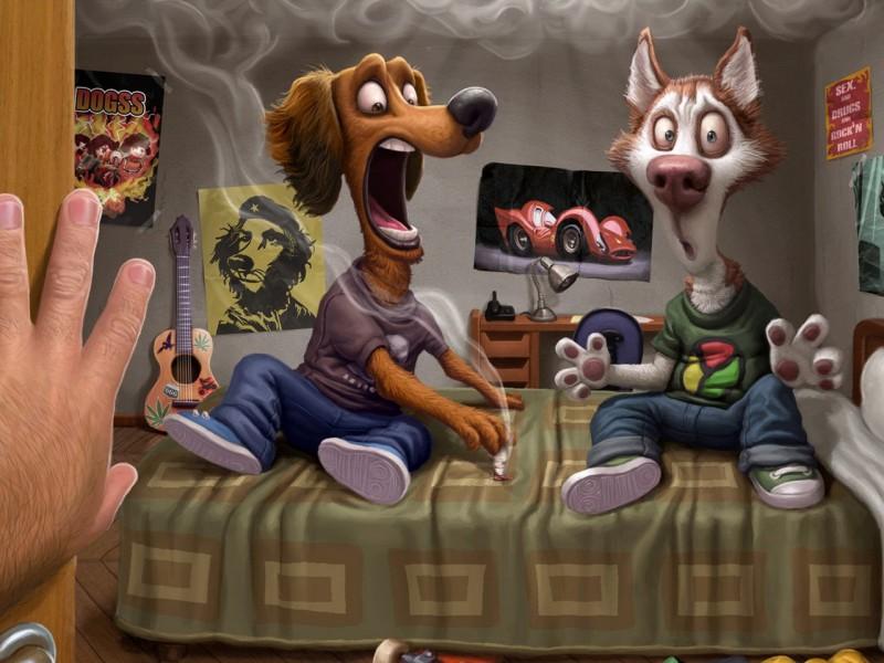 Пазл Собирать пазлы онлайн - Человек собаке друг