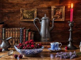 Собирать пазл Черешня и кофейник онлайн