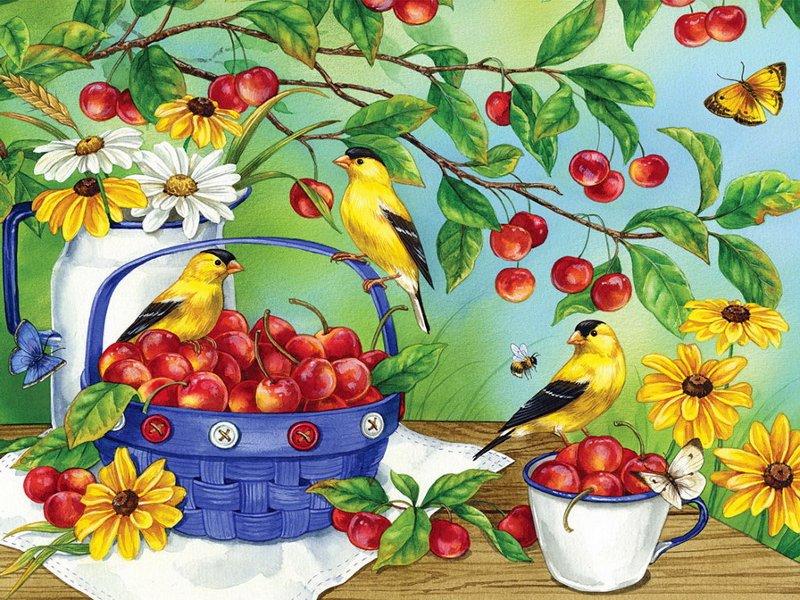 Пазл Собирать пазлы онлайн - Черешня и птицы