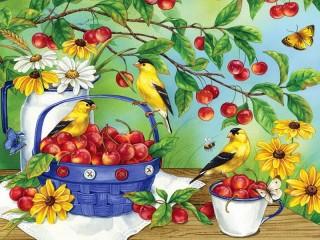 Собирать пазл Черешня и птицы онлайн