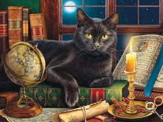Собирать пазл Черный кот онлайн