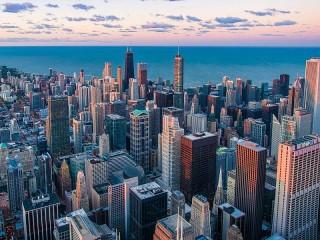 Собирать пазл Чикаго на закате онлайн