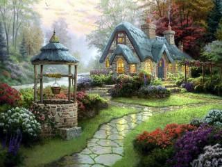 Собирать пазл Чудесный дом в лесу онлайн