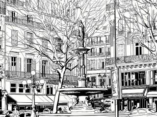 Собирать пазл Чёрно-белая Прага онлайн
