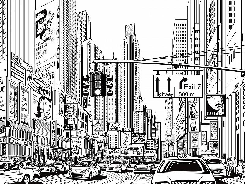 черно-белые картинки для распечатки города югу города