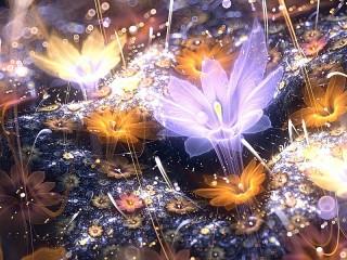 Собирать пазл Cветящиеся цветы онлайн