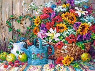Собирать пазл Дачные цветы онлайн