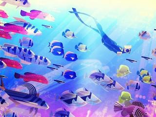 Собирать пазл Дайвер и рыбы онлайн