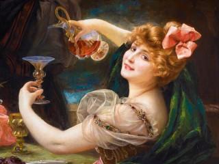 Собирать пазл Дама с бокалом вина онлайн